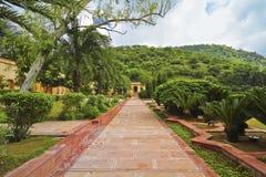Sisodia Rani宫殿庭院在斋浦尔 图库摄影