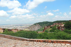 Jaipur City With Fort Wall. stock photo