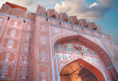 Jaipur. A city in India, Rajasthan. It called the `Pink City` because of the unusual color of pink stone used in construction royalty free stock image
