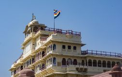 Jaipur City Palace with Flag waving in wind stock image