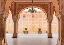 Jaipur city palace in Jaipur city, Rajasthan, India. An UNESCO world heritage know as beautiful pink color architectural elements. A famous destination in royalty free stock photos