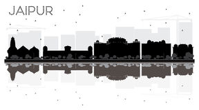 Jaipur City skyline black and white silhouette with reflections. Vector illustration. Simple flat concept for tourism presentation, banner, placard or web site Stock Photography