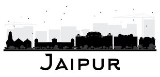 Jaipur City skyline black and white silhouette. Vector illustration. Simple flat concept for tourism presentation, banner, placard or web site. Business travel Royalty Free Stock Image