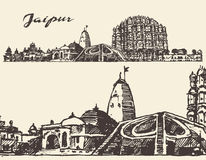 Jaipur city vintage illustration hand drawn sketch. Jaipur, big city architecture vintage engraved illustration hand drawn sketch Stock Photos