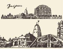 Jaipur city vintage illustration hand drawn sketch Stock Photos