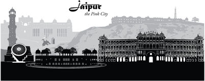 Jaipur Cityscape. Vector illustration of the Jaipur, India cityscape skyline Stock Image