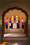 Jaipur, colorful windows and balconies, interior view of Hawa Mahal Royalty Free Stock Image