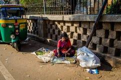 JAIPUR, INDIA - 25 AGOSTO 2017: Le donne indiane vende l'alimento nelle vie a Jaipur, India Dell'India delle donne nella vendita  Immagine Stock