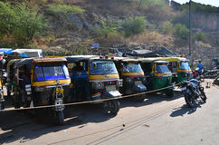 Jaipur, India - December 29, 2014:  Auto rickshaw taxis near Amber fort Stock Photo