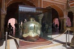Jaipur, India - December 29, 2014: Gangajelies huge sterling silver vessels in Diwan-I-Khas City palace of Jaipur. Stock Photo