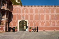 Jaipur, India - December 29, 2014: Indian soldier at The City Palace in Jaipur Royalty Free Stock Photo
