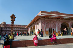 Jaipur, India - December 29, 2014: People visit The City Palace in Jaipur Royalty Free Stock Photo