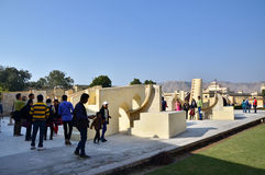 Jaipur, India - December 29, 2014: people visit Jantar Mantar observatory in Jaipur Royalty Free Stock Image