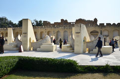 Jaipur, India - December 29, 2014: people visit Jantar Mantar observatory in Jaipur, India. Royalty Free Stock Photography