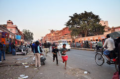 Jaipur, India - December 29, 2014: People visit Streets of Indra bazaar Royalty Free Stock Image