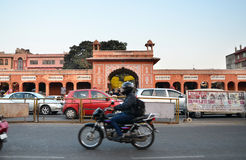 Jaipur, India - December 29, 2014: People visit Streets of Indra bazaar Royalty Free Stock Photo