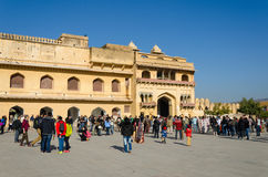 Jaipur, India - December 29, 2014: Tourist visit Amber Fort near Jaipur, Rajasthan, India. Royalty Free Stock Photography