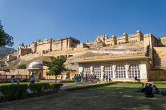 Jaipur, India - December29, 2014: Tourist visit Amber Fort near Jaipur Stock Images