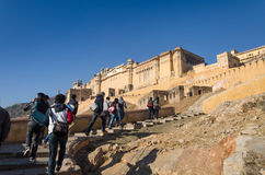 Jaipur, India - December 29, 2014: Tourist visit Amber Fort near Jaipur. Stock Photography