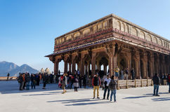 Jaipur, India - December 29, 2014: Tourist visit Diwan-I-Am in Amber fort Royalty Free Stock Photos