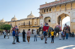 Jaipur, India - December 29, 2014: Tourists enjoy elephant ride in the Amber Fort Royalty Free Stock Image