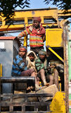 Jaipur, India - December 30, 2014: Unidentified travellers, mostly construction workers on the truck Stock Photography