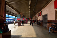 Jaipur, India - January 3, 2015: Crowd on platforms at the railway station of Jaipur Stock Photography