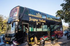 JAIPUR, INDIA - JANUARY 11, 2018: Exclusive tourist Indian bus stock images