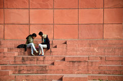 Jaipur, India - January 31, 2014: Indian People visit Jawahar Kala Kendra in Jaipur Stock Photo