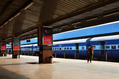 Jaipur, India - January 3, 2015: Passenger on platforms at the railway station of Jaipur Stock Photo