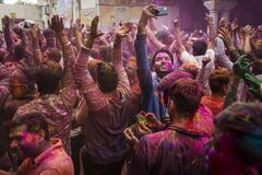 JAIPUR, INDIA - MARCH 10: Local people celebrate festival Holi on March 10, 2020 in Jaipu, India. Holi is a spring festival