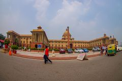 Jaipur, India - September 26, 2017: Beautiful goverment building of Rashtrapati Bhavan is the official home of the. President of India, fish eye effect royalty free stock photos