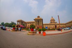 Jaipur, India - September 26, 2017: Beautiful goverment building of Rashtrapati Bhavan is the official home of the. President of India, fish eye effect stock image