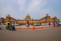 Jaipur, India - September 26, 2017: Beautiful goverment building of Rashtrapati Bhavan is the official home of the. President of India, with some richshaw royalty free stock photos