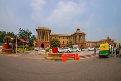 Jaipur, India - September 26, 2017: Beautiful goverment building of Rashtrapati Bhavan is the official home of the. President of India, with some richshaw stock photography