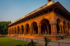 Jaipur, India - September 19, 2017: Beautiful muslim architecture detail of Diwan-i-Am, or Hall of Audience, inside the Stock Photos