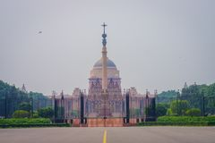 Jaipur, India - September 26, 2017: Goverment building of Rashtrapati Bhavan is the official home of the President of. India, fish eye effect stock photo