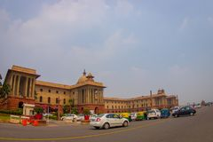 Jaipur, India - September 26, 2017: Goverment building of Rashtrapati Bhavan is the official home of the President of. India, fish eye effect royalty free stock photography