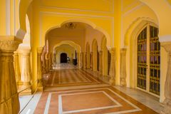 JAIPUR, INDIA - SEPTEMBER 19, 2017: Indoor view of Chandra Mahal museum, City Palace in Jaipur Royalty Free Stock Images