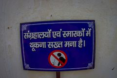Jaipur, India - September 19, 2017: Informative sign with an image of not spit located in Red Fort in Delhi, India.  Royalty Free Stock Photography