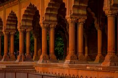 Jaipur, India - September 19, 2017: Muslim architecture detail of Diwan-i-Am, or Hall of Audience, inside the Red Fort Royalty Free Stock Images