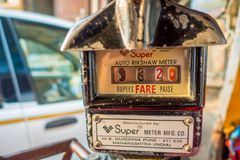 Jaipur, India - September 20, 2017: Old and rusty auto rikshaw not working meter.  royalty free stock photo