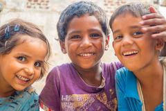 Jaipur, India - September 20, 2017: Portrait of beautiful group of children, smiling and playing in the street in Jaipur. City in India Royalty Free Stock Photos