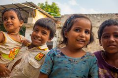 Jaipur, India - September 20, 2017: Portrait of beautiful group of children, smiling and playing in the street in Jaipur Royalty Free Stock Photos