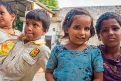 Jaipur, India - September 20, 2017: Portrait of beautiful group of children, smiling and playing in the street in Jaipur Stock Images
