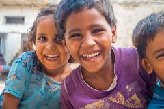 Jaipur, India - September 20, 2017: Portrait of beautiful group of children, smiling and playing in the street in Jaipur. City in India Stock Images