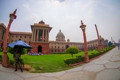 Jaipur, India - September 26, 2017: Rashtrapati Bhavan is the official home of the President of India. Fish eye effect royalty free stock photo