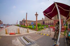 Jaipur, India - September 26, 2017: Rashtrapati Bhavan is the official home of the President of India. Fish eye effect royalty free stock image