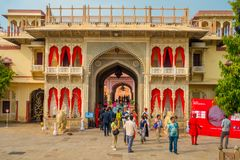 JAIPUR, INDIA - SEPTEMBER 19, 2017: Unidentified people at the entrance gate to the City Palace in Jaipur, India Stock Images