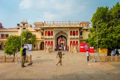 JAIPUR, INDIA - SEPTEMBER 19, 2017: Unidentified people at the entrance gate to the City Palace in Jaipur, India Royalty Free Stock Photos